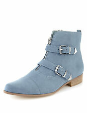 ex m&s pointed toe monk boots with insolia flex baby blue / blue. rrp £45