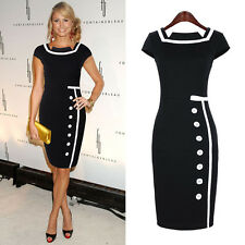 Womens Navy Black Pencil Bodycon Ladies Tea Shift Evening Smart Tailored Dress