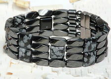 "Mens Powerful Magnetic Hematite SNOWFLAKE OBSIDIAN Bracelet STRONG 4row 7/8""WIDE"