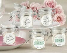 24 Personalized Rustic Themed Glass Favor Jars Wedding Party Shower Favor