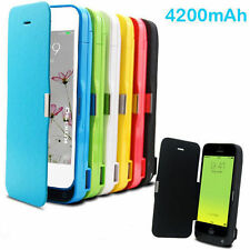 Rechargeable 4200mah Power Bank battery Charger Flip case for iPhone 5 5s 5c UK
