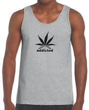NEW MEN'S PRINTED Addicted Marijuana TEE Plant Funny Dope Weed SMOKE TANK TOP