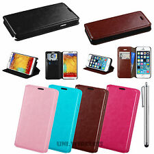 PU Leather Credit Card Holder Wallet Case Phone Cover w/ Stylus Pen