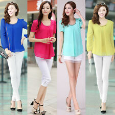Korean Fashion Blouses Sequin Plus Size T-Shirt Long Short Sleeve Chiffon Shirt