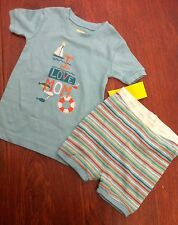 BABY GAP BEACH BOAT SUMMER SHORTS SHORTIES PJS PAJAMAS STRIPES LOVE MOM 18 24 MO