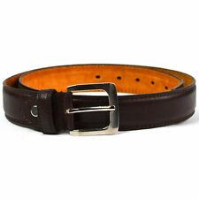 "Mens Brown Bonded Leather Belt Silver Buckle Genuine Leather Lining 1.25"" Width"