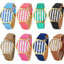 Delicate Funky Unisex Geneva Stripes Print Leatheroid Analog Quartz Wrist Watch