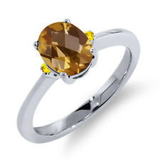 1.21 Ct Oval Checkerboard Champagne Quartz Yellow Sapphire 14K White Gold Ring