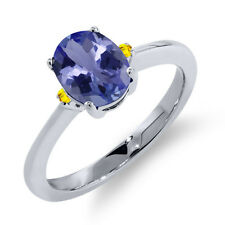 1.22 Ct Oval Blue Tanzanite Yellow Sapphire 925 Sterling Silver Ring