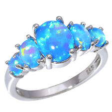 Luxury Blue Fire Opal Women Jewelry Gemstone Silver Ring Size 7/8/9 OJ4494