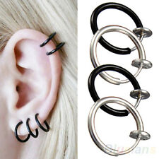UNIQUE CLIP ON HOOP BODY NOSE LIP EAR PIERCING RING PUNK GOTH COOL STUD EARRINGS