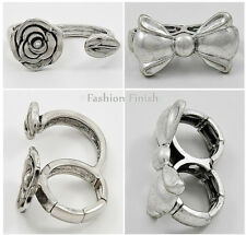 Two Finger Ring Collection Burnished Silver Ladies Stretch OSFM New & Boxed