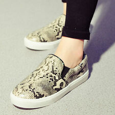 Womens Python platform shoes slip-on sneakers loafers casual flats