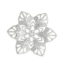 Wholesale Lots Bead Caps Hollow Flower Silver Tone 5.7cm x5cm