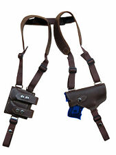 NEW Brown Leather Gun Shoulder Holster w/ Dbl Magazine Pouch for Bersa Compact