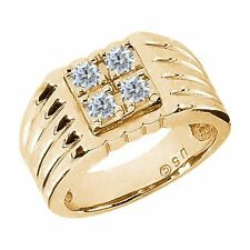 0.68 Ct Round G/H SI2 Diamond 14K Yellow Gold Men's Ring