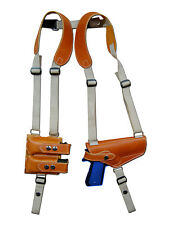 NEW Barsony Tan Leather Shoulder Holster Dbl Mag Pouch Browning Colt Full Size
