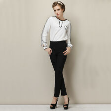 2014 Women Sleeve White Tops Blouse + Black Suit Pants Trousers Wear To Work NC