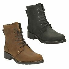 ORINOCO SPICE LADIES CLARKS LEATHER LACE UP ZIP CASUAL ANKLE BOOTS SIZE