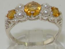 Quality Vintage Design Solid 925 Sterling Silver Natural Citrine & Pearl Ring