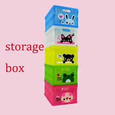 Plastic Storage Containers cute cartoon painted with cover desk décor Tidy GTF