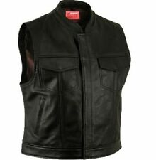 NEW SONS OF ANARCHY SOA STYLE VEST GENUINE LEATHER BLACK MOTORCYCLE SMALL - 6XL