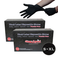 200 Black Latex Disposable Tattoos Piercing Industrial Gloves - Powder Free S~XL