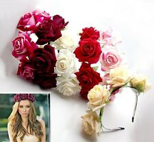 U Pick Handmade Floral Crown Rose Flower Headband Hair Garland Wedding Headpiece