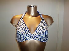 Moontide Chevron Underwired Halterneck Top F/G Cup in Marine Blue size 10-14