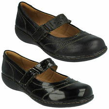 EMBRACE LUX- LADIES CLARKS MARY JANE STYLE LEATHER FLAT VELCRO SHOES LOW HEEL