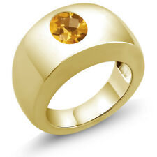 1.30 Ct Oval Checkerboard Yellow VS Citrine 14K Yellow Gold Men's Solitaire Ring