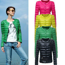 Women Winter Warm Light Weight Outerwear Solid Slim Down Jacket Coat Overcoat XT