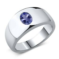 1.16 Ct Oval Blue AAA Tanzanite 925 Sterling Silver Men's Ring
