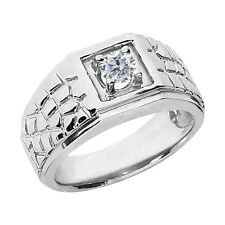 0.50 Ct Round G/H SI2/I1 Diamond 925 Sterling Silver Men's Ring