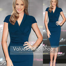 Women Vintage Celebrity Ruched Business Casual Bodycon Sheath Shift Pencil Dress