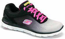 Skechers Womens Flex Appeal Style Icon Memory Foam Shoes Trainers - Black & Pink