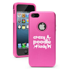 For iPhone 4 4S 5 5S 5c Aluminum Silicone Hard Case Cover Crazy Poodle Lady