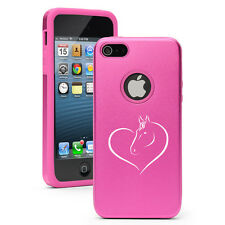 For Apple iPhone 4 4S 5 5S 5c Aluminum Silicone Hard Case Cover Heart Horse