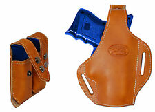 New Tan Leather Pancake Gun Holster + Dbl Mag Pouch Colt, Kimber Comp 9mm 40 45