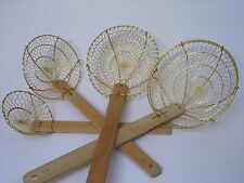 4' 5' 6' 7' wire & brass oil drainer strainer wood ladle chinese restaurant bars