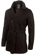 Men's Seven Hill Black Trench Coat Jacket RRP £89.99 - ALL SIZES FOR WINTER