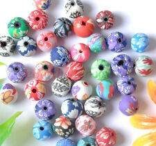 Mixed Color ROUND POLYMER CLAY Round Flower Loose BEADS Choose 6MM 8MM 10MM 12MM