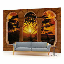 African Sunset View Through Arches Photo Wallpaper Wall Mural (CN-770P)