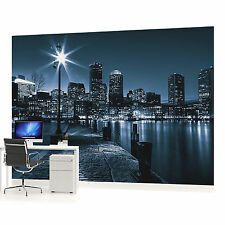 Blue City at Night Photo Wallpaper Wall Mural (CN-283VE)