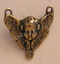 Sterling Silver or True Bronze Antique Rosary Parts Center Winged Angel #901