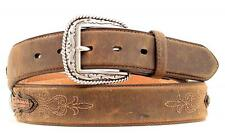 Ariat Western Mens Belt Leather Embroidery Concho Brown A1010202