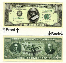 World War 2 One Million Dollars Novelty Bill Notes 1 5 25 50 100 500 or 1000