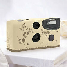 10 + CUST QTY Butterfly Garden Ivory And Gold Disposable Cameras Spring (WS)