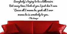 THE VAMPS SOMEBODY TO YOU WALL ART DECAL STICKER LYRICS MUSIC