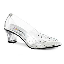 "2"" Rhinestone 'Glass Slippers' Cinderella Fairytale Shoes Costume Cosplay 6-12"